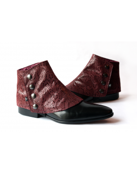 Men's Spats in Burgundy Snakeskin fabric
