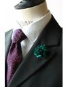 Emerald Green satin flower - lapel pin for dapper men